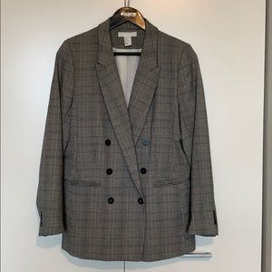 H&M Houndstooth/Plaid Double Breasted Blazer